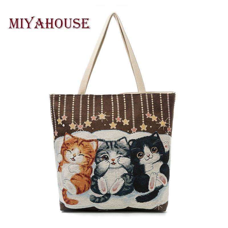 Miyahouse Cute Cats Print Canvas Shoulder Bag Women Large Capacity Embroidery Handbag Female Shopping Bag Summer Beach Bag Lady miyahouse cute cat printed beach bag women large capacity shopping bags vintage female single shoulder bag canvas ladies handbag