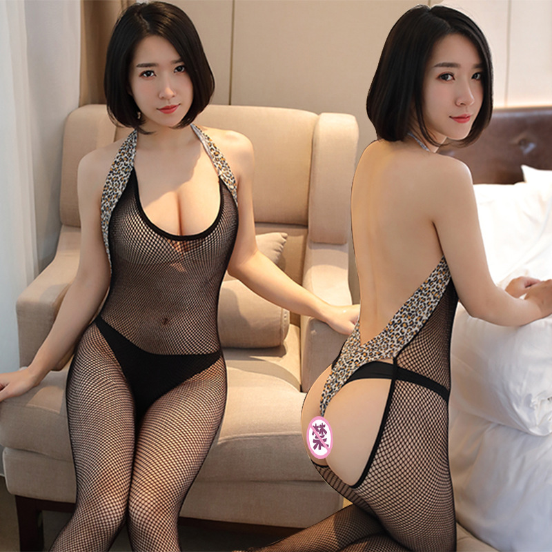 Buy Sexy Leopard Print Costumes Body Suit Body Stockings Sex Erotic Open Crotch+Open Cup Teddy Lingerie Crotchless Baby Doll Women