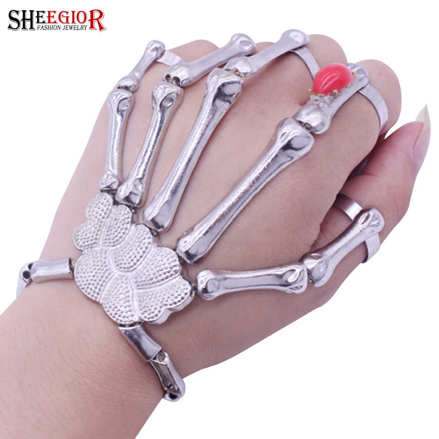 Sheegior Punk Rock Skeleton Hand Men S