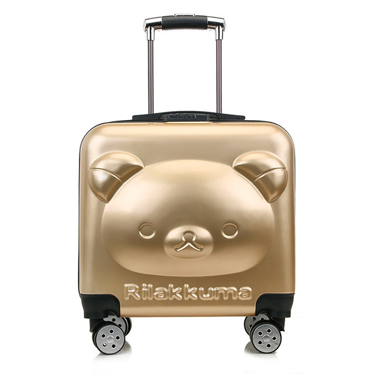 18'' 3D Cartoon bear 360 degree spinner trolley rolling carry on luggage malas