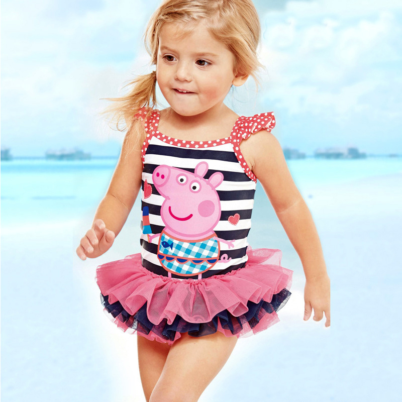 Lovely Cartoon One Piece Swimsuit kids Princess Skirt Pettiskirt Swimwear for Girls Swimming Suit Pink Pig bikini children 1 8 years old kids swimsuit for girls lovely yellow duck bathing suit children swimsuit princess one piece swimwear swimming cap