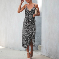 Summer Boho Dot Print V Neck Spaghetti Strap Maxi Dress Women Beach Vacation High Waist Split Sexy Ruffles Swallow Tail Dresses