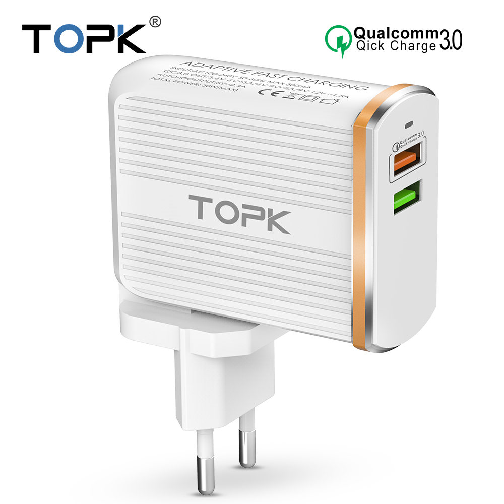 TOPK Mobile Phone Charger 30W USB Charger For iPhone Samsung Xiaomi Huawei Quick Charge 3.0 Fast Charger Dual USB Travel Adapter