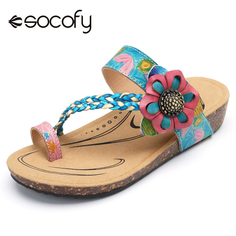 Socofy Geuine Leather Slippers Women Shoes Summer Bohemian Beach Slippers Hook Loop Handmade Flower Slides Flip Flops Shoes New socofy bohemian genuine leather shoes women sandals vintage printing forest hook loop wedge heel women slippers summer new