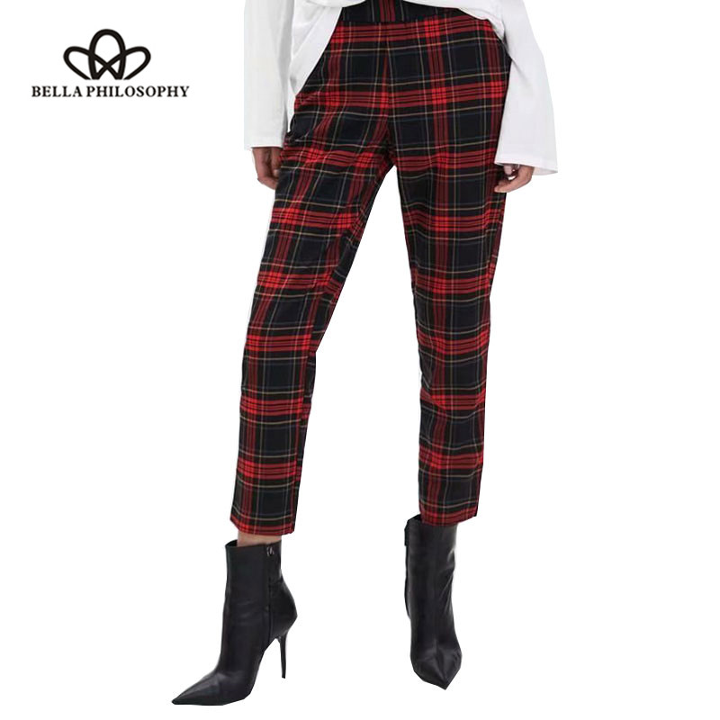 Bella Philosophy Women Spring Plaid Pants High Waist Female Loose Long Sports Pants Casual Retro Lady Fashion Harem Pants Women