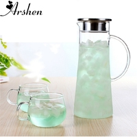 Arshen 1800ml Juice Flower Glass Kettle Big Outlet Water Jug Heat Resistant Transparent Container with Stainless Steel Strainer