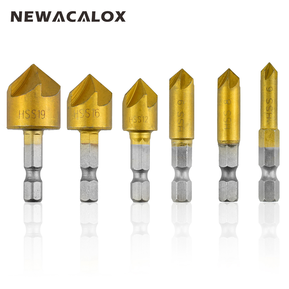 NEWACALOX 6pc 82 Degree Countersink Drill Bit Set Counter Woodworking Bits Boring Chamfer Chamfering Cutter Bore for Wood Tools кольцо переходное к пильным дискам bosch page 11