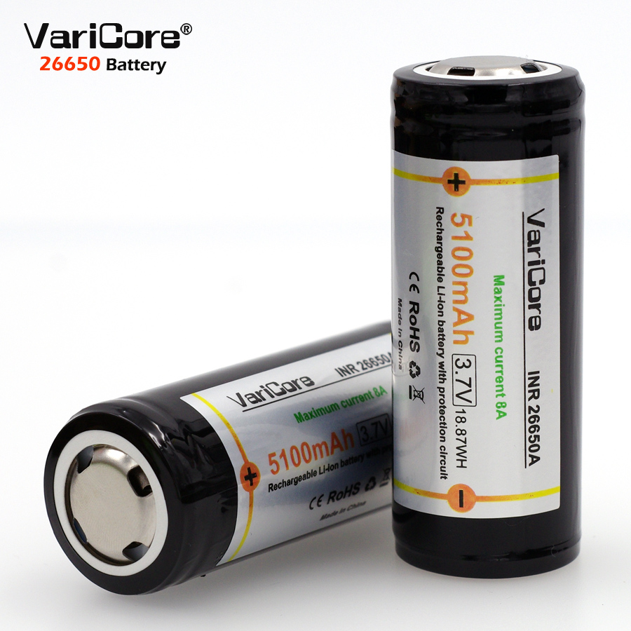 VariCore 26650 batterie 26650 Li-ion batterie pas 18650 Protection batterie 8A courant de décharge.