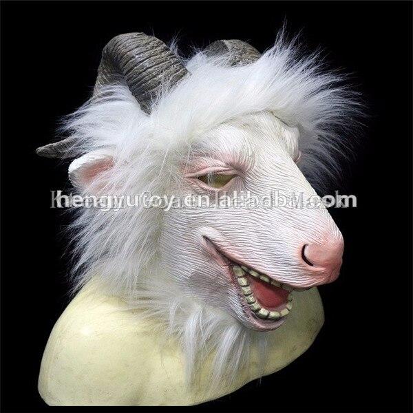 Top qualité 100% Latex 1 PC nouveau Latex tête de chèvre masque Animal ZOO Cosplay mouton Halloween mascarade fête Anima masque Costume Prop - 2