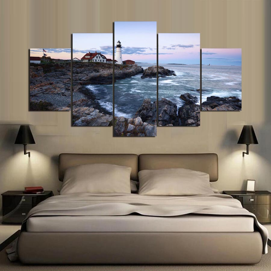 Lighthouse bedroom decor - 5 Panels Hd Printed Lighthouse Scenery Painting Painting Canvas Print Room Decor Print Poster Picture Canvas Tp 1072
