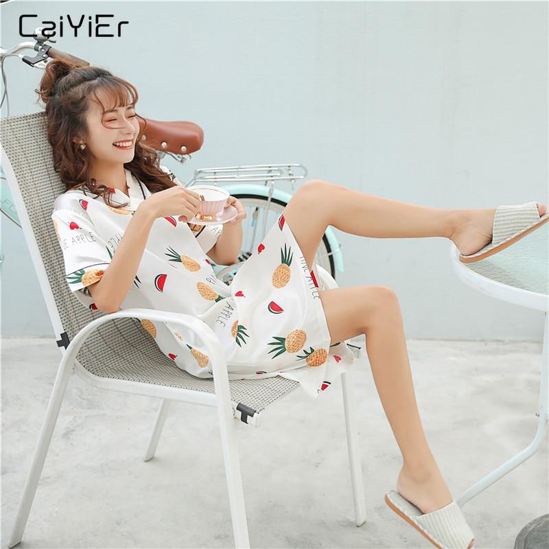 Caiyier Silk Satin Sleepwear Cute Pineapple Print Nighties V-neck   Nightgown   Summer 2019 Nightdress Women   Sleepshirt   Homewear