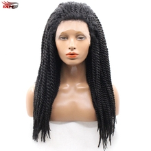 Dlme 18inches Afro 2X Twist Braids Wig Natural Color Synthetic Lace Front Crochet Braid Wigs for African American Black Women