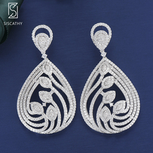 27*66mm Fashion Indian Earrings Jewelry For Women Cubic Zirconia Inlaid Drop boucle doreille