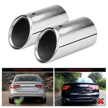 все цены на Car Exhaust Tail Pipe Muffler Stainless Steel Resistance Muffler Exhaust Tip Pipe End Tail Tailpipe Dissipative Muffler For Audi