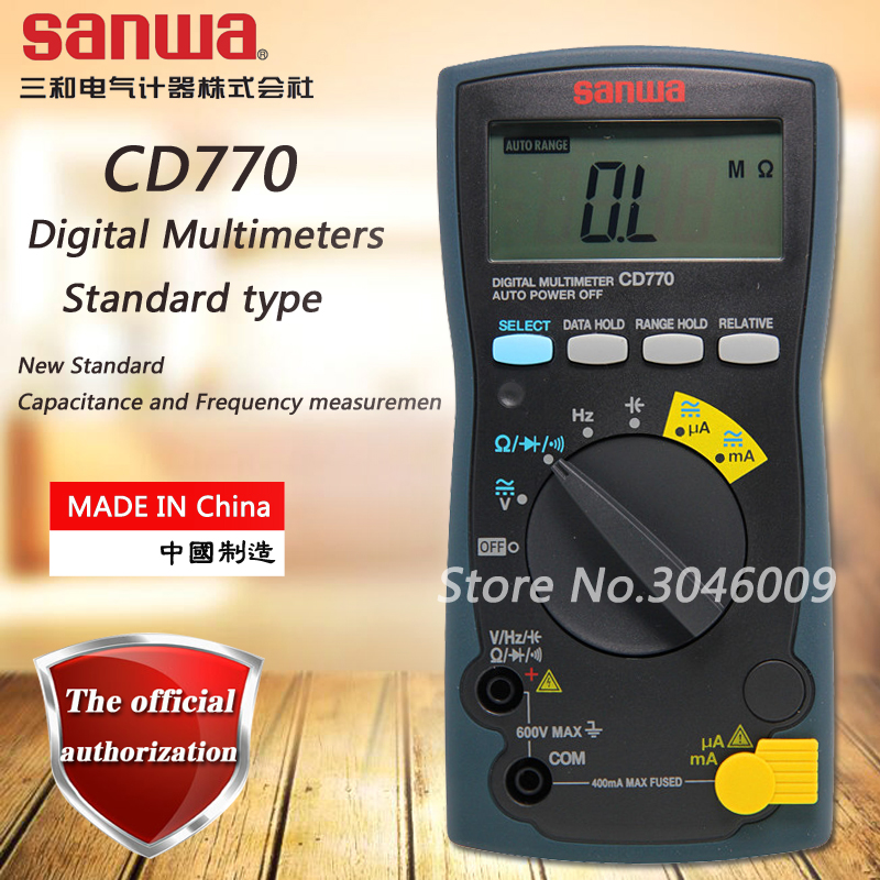 sanwa CD770 Standard Digital Multimeter On-Off Beep Data Lockout Resistance / Capacitance / Frequency Measurement beep beep go to sleep