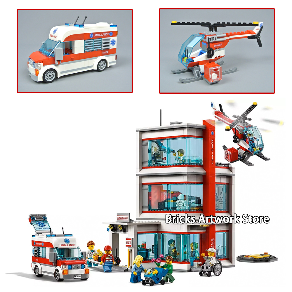 Compatible Legoness Presell 964Pcs 60204 City Hospital Series Set Minifigs Mini Figures Educational Building Blocks Toys Kids
