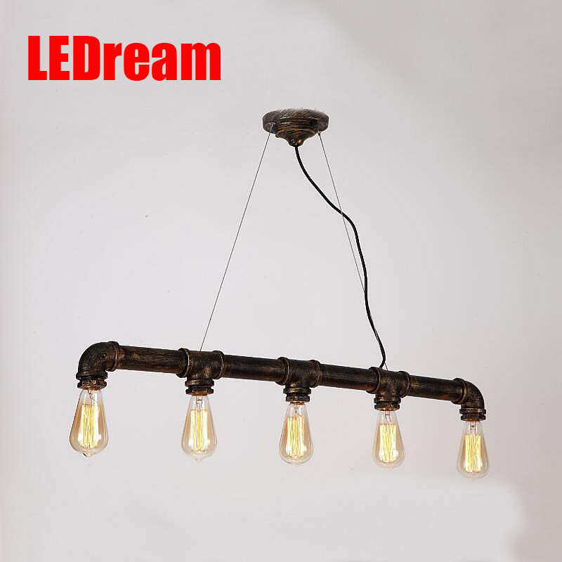 Loft Vintage Edison Pendant Lights Personalized Bar Lighting Industrial Vintage Water Pipe Pendant Lamp E27 Black/Antique Lamps edison inustrial loft vintage amber glass basin pendant lights lamp for cafe bar hall bedroom club dining room droplight decor