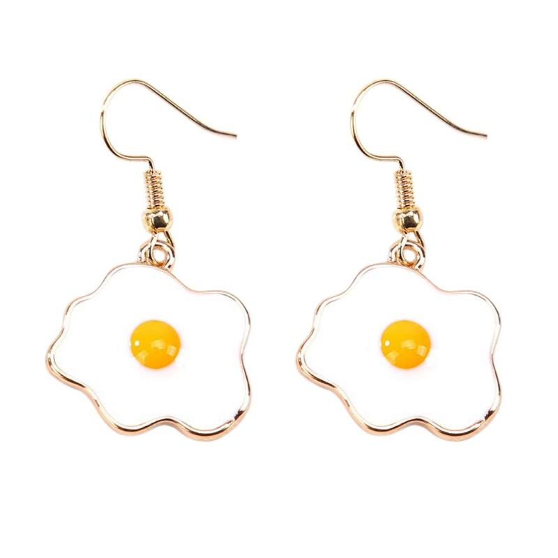Vivid Omelette Egg Pendant Special Drop Earrings For Women Food Dangle Earrings Acrylic Omelette Egg Drop Dangle Hook Earrings