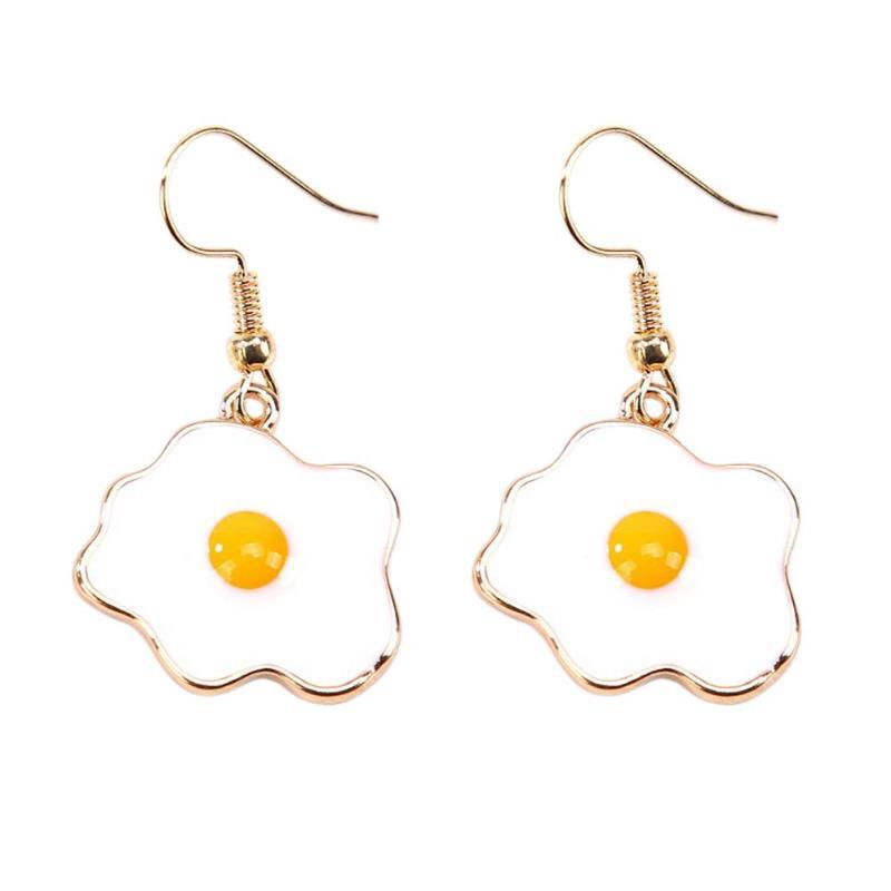 Vivid Omelette Egg Pendant Special Drop Earrings For Women Food Dangle Earrings Acrylic Omelette Egg Drop Dangle Hook Earrings
