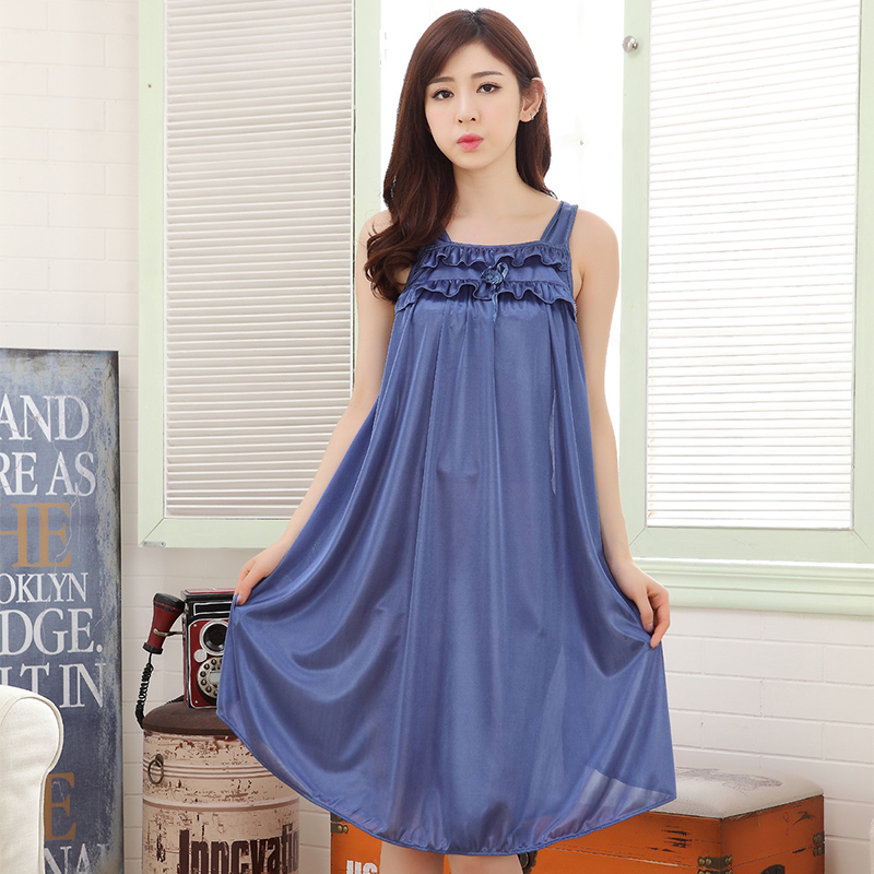 New Ice silk   Sleepshirts   Women summer Nightwear Sleepwear Dress Nighties For Women Sleeping Women Night Sleepwear Sexy   Nightgown