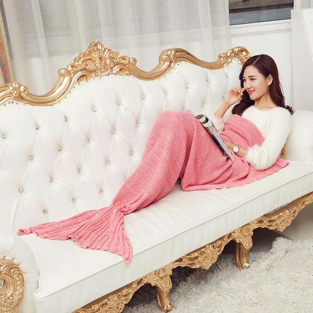 Hot Fashion Knitting Throw Bedding Sofa Mermaid Tail Blanket Soft Swaddling Sleeping Bag Hand Crocheted Blanket Multi-colors