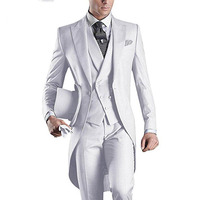 Retro White Tailcoat Wedding Men Suits Groom Tuxedos 3Piece Long Jacket Men's Classic Suit Costume Homme Mariage Terno Masculino