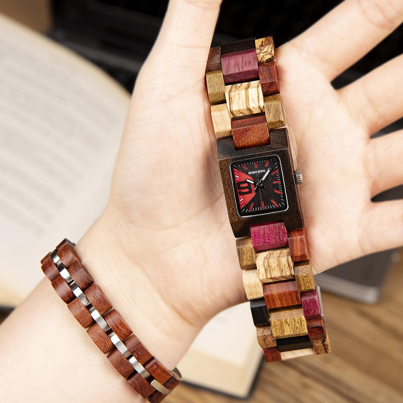 Women Watch Bracelet Set Wooden Quartz Watches Timepieces Girlfriend Gifts  2
