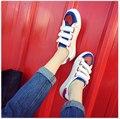Женщина туфли На Платформе белый обуви рекреационных холст обувь женщин низкие, чтобы помочь любовь Крюк & Петля студент женщины ткань обувь