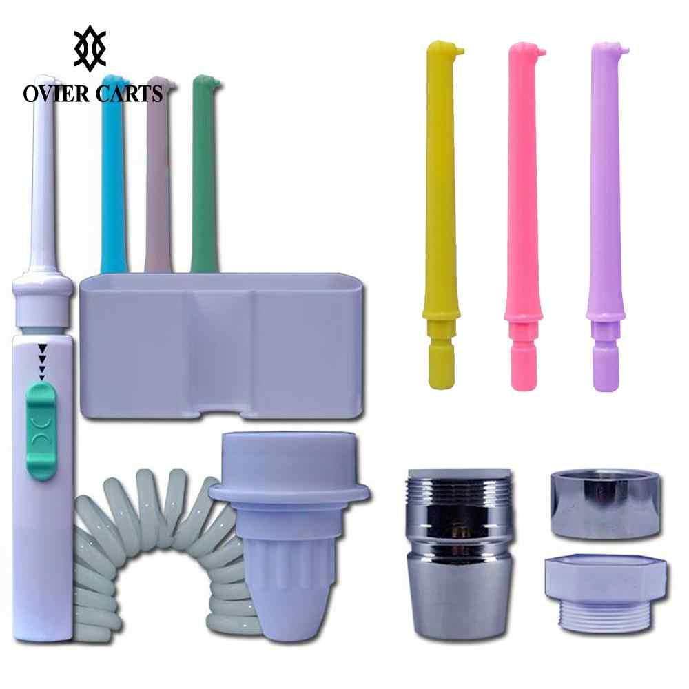 Przenośne zęby irygatory strumieniem wody szczoteczka do zębów Oral nawadniania narzędzie do czyszczenia zębów 6 dysza kran Oral nawadniania wody zębów Flosser