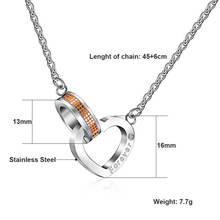 Love Forever Heart Square Necklaces Pendants for Women Men Stainless Steel Circle Pendant Necklaces for Couple