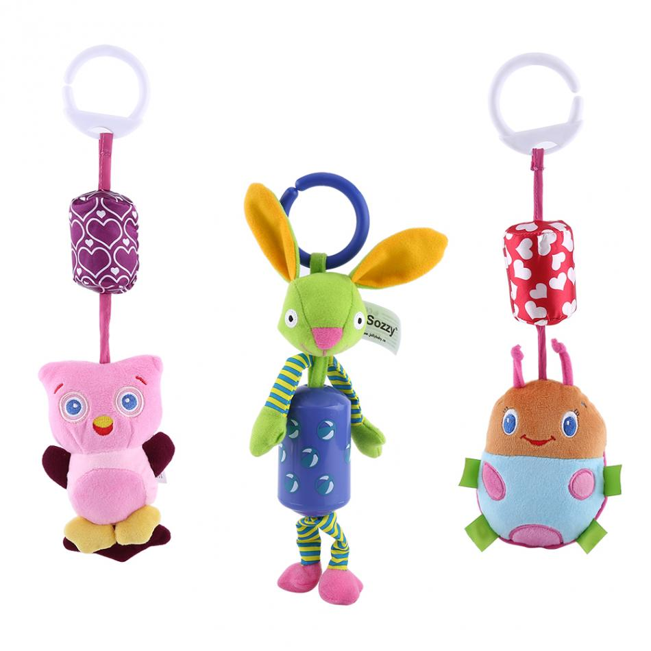 5 Styles 1 pcs Infant Animal Hanging Toys Baby Plush Wind Chimes Rattles Pull Bell Bed Stroller for 0--3 years old kids
