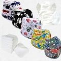 Двухрядные щелкает 5 шт. ткань пеленки дышащая современные ткань пеленки флейта с микрофибры вставки (5 sets)