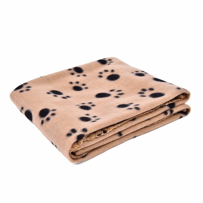 UEETEK Pet Blanket for Dog Cat,Double-Sided Paw Print Fleece Blankets Sleeping Mat Bed for Dogs Cats Kitten Puppy,Rose,60 x 70CM LW
