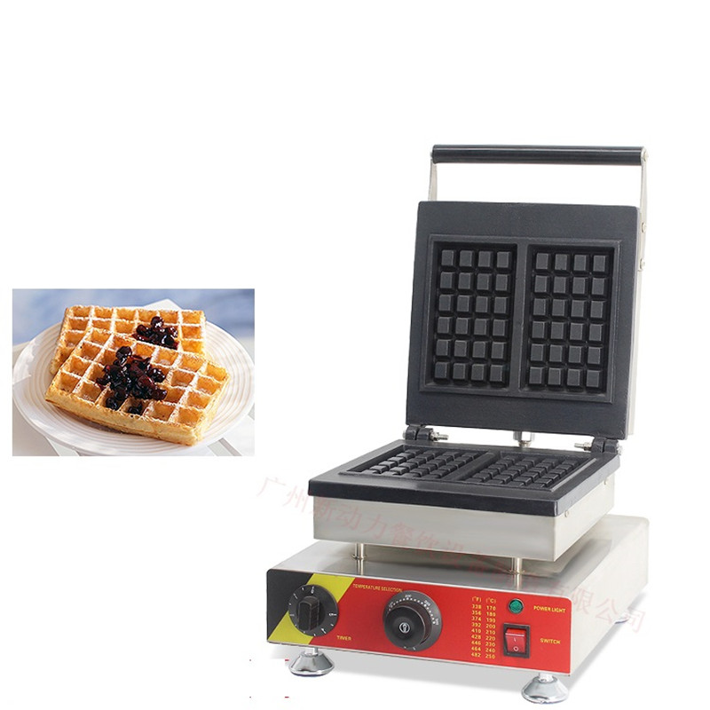 110V 220V Commercial Electric Waffle Machine 2pcs Non-stick Square Muffin Waffle Maker Machine EU/AU/UK/US Plug directly factory price commercial electric double head egg waffle maker for round waffle and rectangle waffle