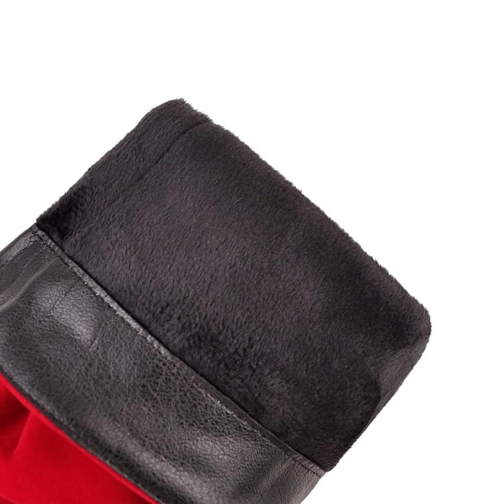Tejido Mediados Martin Black De Zapatos red En Kebeiority blue Las Otoño Tacón Mujer Deslizamiento Mujeres Ternero Grueso Alto Botas Elástico 2019 P0c1q