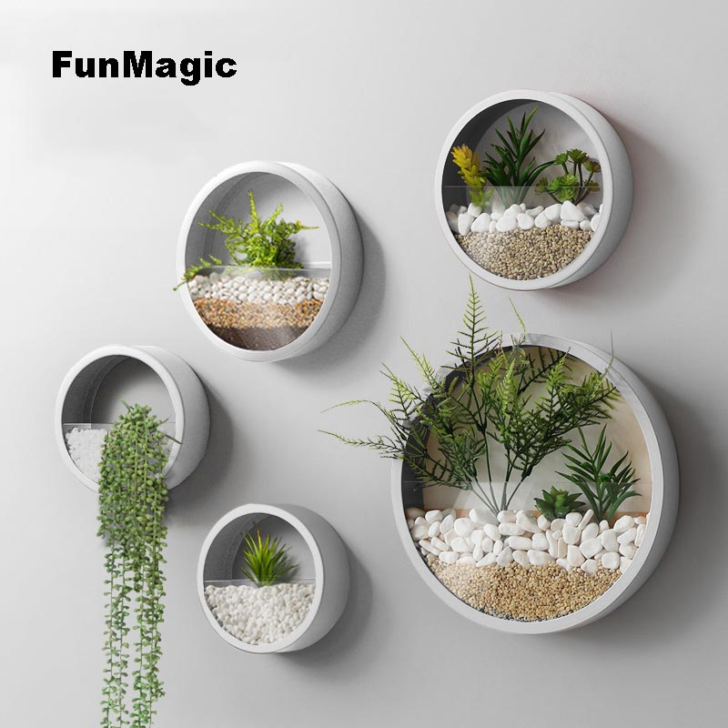 Creative Iron Art Wall Vase Solid Color Modern Hanging Decor Crafts / Artificial Flower Colored Stone Holder Bonsai Flower Vases