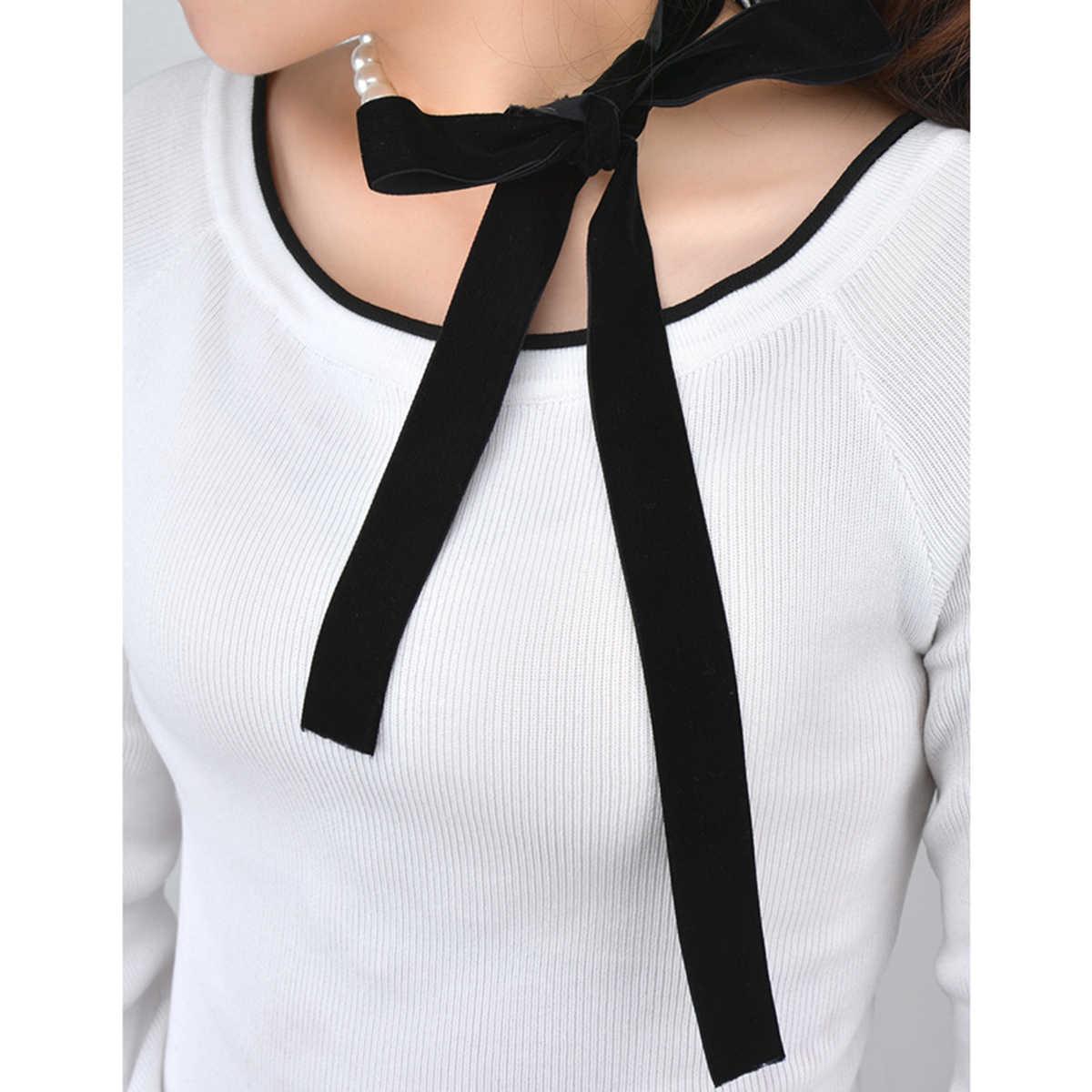 Heeda Kpop Vintage Bowknot Perle Samt Gürtel Halskette Frauen Mode Joker Einzigartige Schmuck Halsband 2019 Neue Dame Pullover Kette