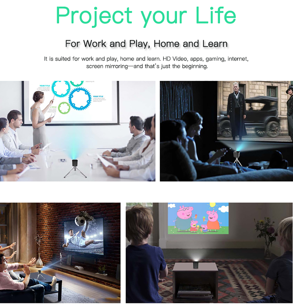 CRENOVA Newest DLP Wifi Bluetooth Mini Projector With Android 7.1.2OS  For Home Theater 16