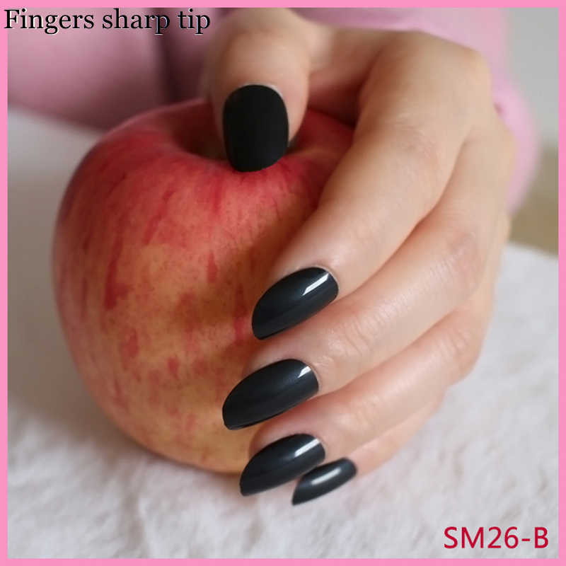 24 Pcs/set Beautiful Fashionable Long Round Head Black Fake Nails Candy Color Pure Color Nail Tips