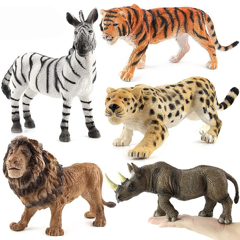Tiger/Lion/Rhinoceros/Zebra Animal Figure Collectible Toys Wild Animal Action Figures Kids Plastic Cement Toys