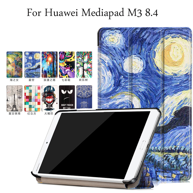 Painted Pu Leather Cover for Huawei Mediapad M3 Case 8.4 inch Magnetic Cover Case For Huawei Mediapad M3 8.4 BTV-W09 BTV-DL09 ultra thin pu leather cover for huawei mediapad m3 case 8 4 inch magnetic cover case for huawei mediapad m3 btv w09 btv dl09