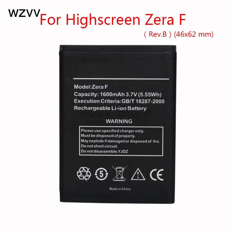 wzvv Original Rechargeable battery 1600mAh Zera F (46*62 mm) Longer Battery For highscreen Zera F Rev.B + Tracking Code