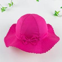 Daughter Gift Girls Wide Brim Bow Bucket Hat Children Summer Sunshade Fisherman 100% Cotton 54CM 6-12Y