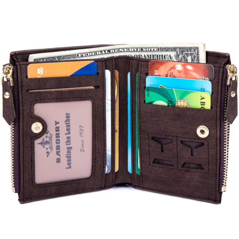 Cartera RFID robo proteger moneda bolsa cremallera monedero carteras para hombres con cremalleras cartera mágica de lujo para hombres y carteras