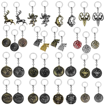 Hot Keychains Stark Wolf Pendants Key Chains  Targaryen Dragon Keyring Souvenirs Gift - discount item  35% OFF Fashion Jewelry