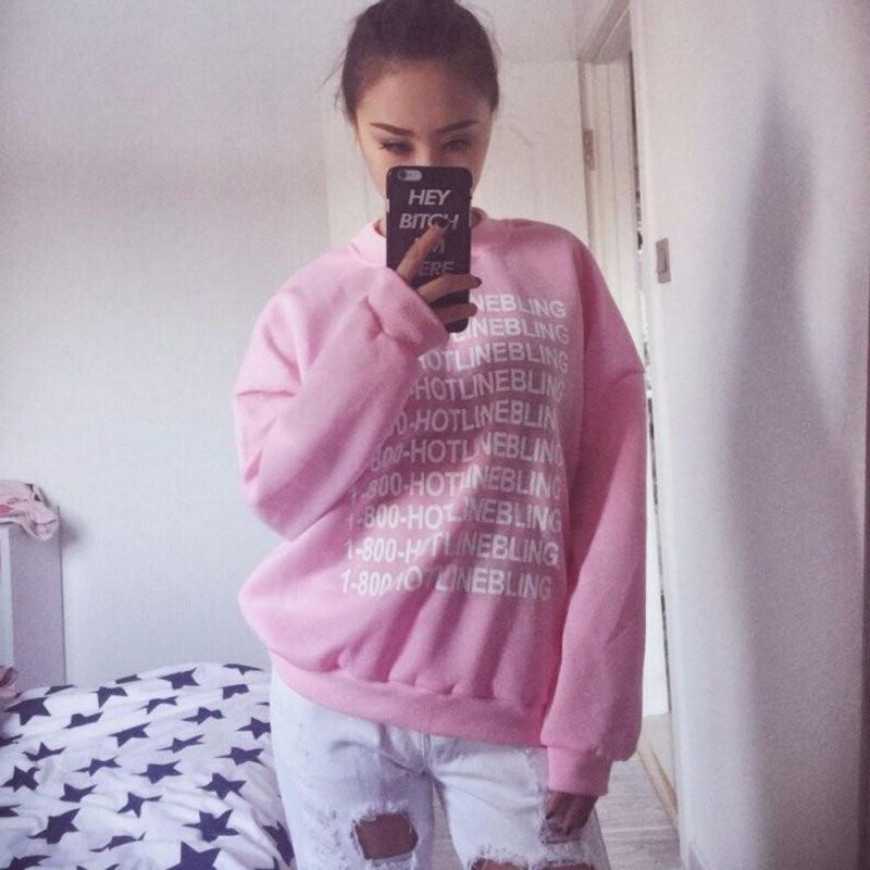 Autumn Fashion Women Pink Fleeced Thick Warm Hoodies Pullovers 800 Hotline Bling Winter Sweatshirts New 2