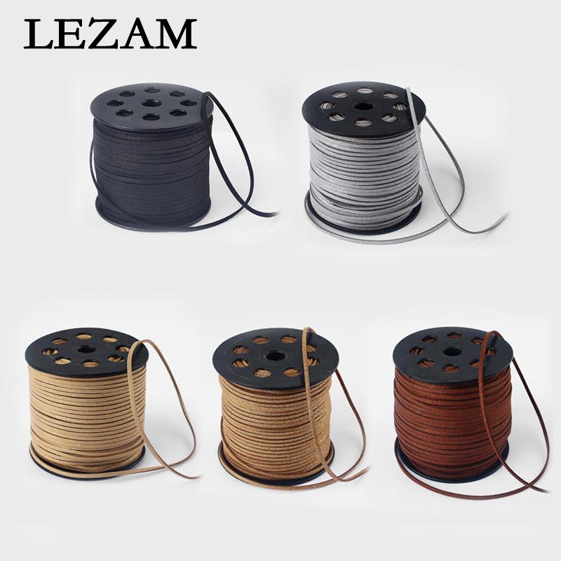 90m/Roll 2.5mm Faux Suede Leather Cord Jewelry For Diy Bracelet Necklace Jewelry Making Rope Cord Accessories Components Bijoux