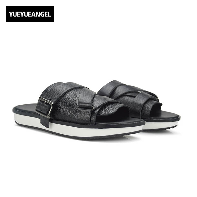 2018 New Fashion Men Sandals Slip On Genuine Leather Cow Casual Shoes Male Black Flip Flop Flat Buckle Slippers Large Size 44 45 slip on men casual shoes male sandal new fashion genuine leather low heel high quality brand korean style thick bottom plus size