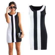 2016 Summer Dress Women Plus Size Stitching Round Neck Sleeveless Sexy Office Dresses Vestido Elbise Mini sexy dress Black White