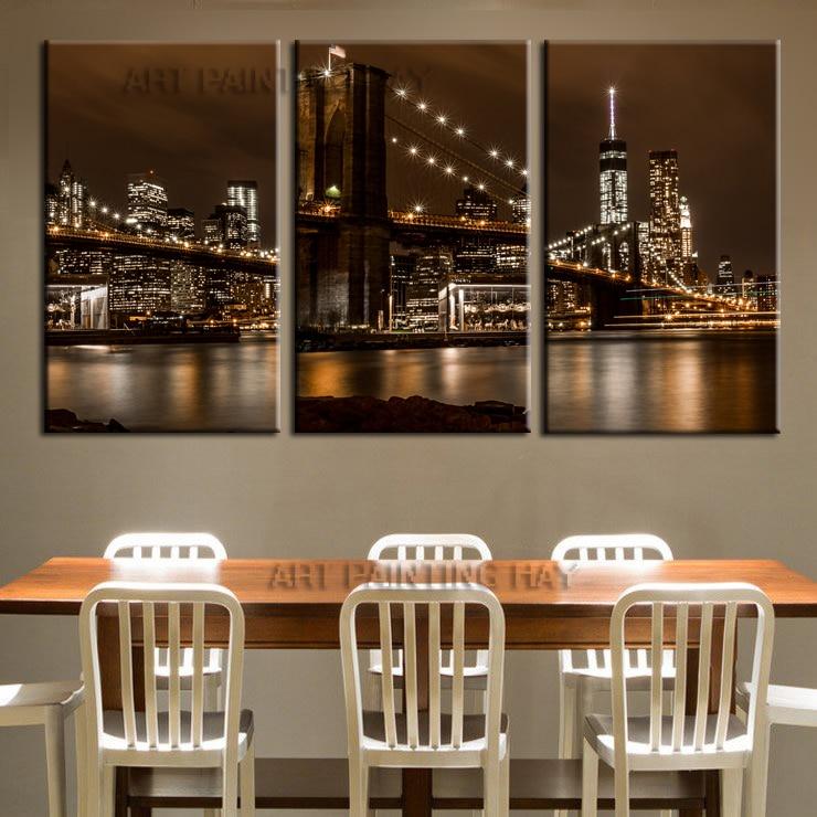 3 шт. продажа Современная Фреска Нью-Йорк Бруклинский мост Главная Декоративные Книги по искусству Краски на холсте бескаркасных